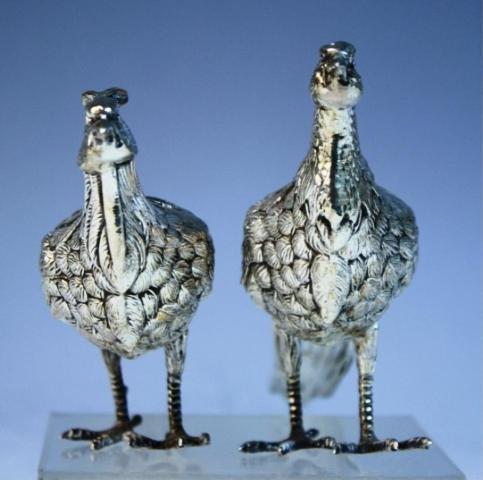 139: Pair of Sterling Silver Peacocks