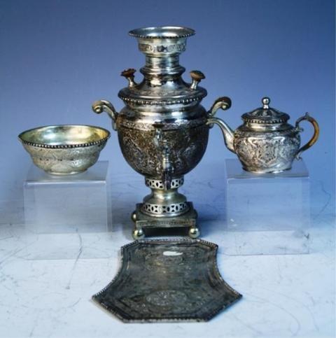 140: 4 Pc. Persian Sterling Silver Samovar Drink Set