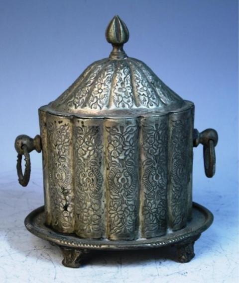 141: Middle Eastern Metal Cigar Box