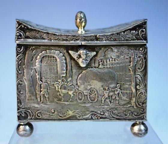 144: English Import Sterling Silver Box w Figural Scene