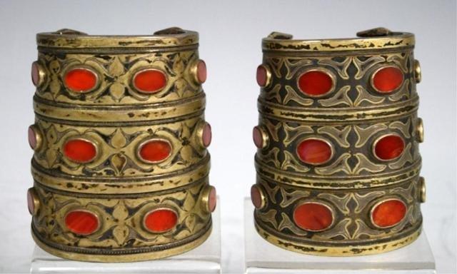 219: 2 Turkoman Cuff Bracelets w/ Carnelian Inlays