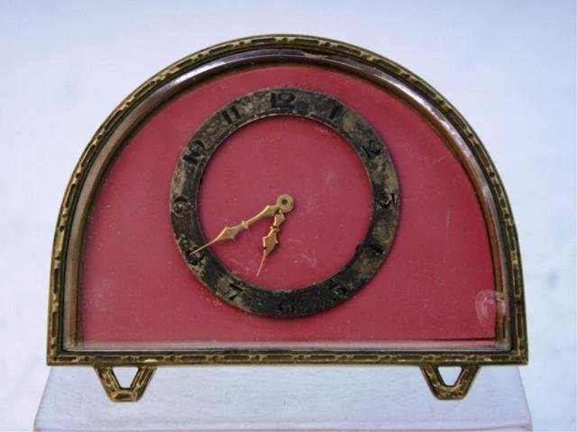 248: Art Deco Half-Circle Bronze Clock poss. French