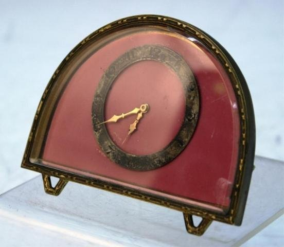 248: Art Deco Half-Circle Bronze Clock poss. French - 2