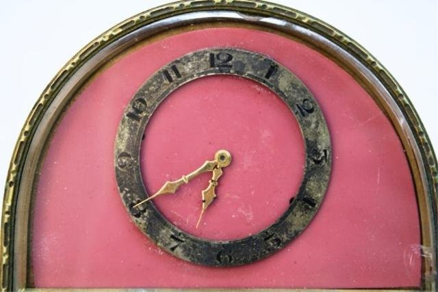 248: Art Deco Half-Circle Bronze Clock poss. French - 7