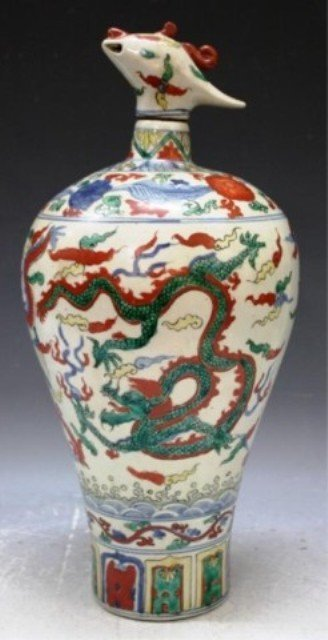 6: Chinese Wucai Porcelain Meiping w/ Lid Qing Dyn.
