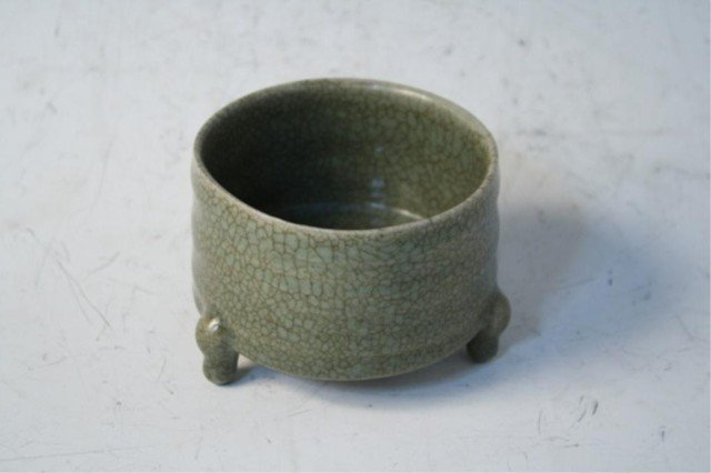 12: Chinese Celadon Glazed Tripod Censer Qing Dynasty