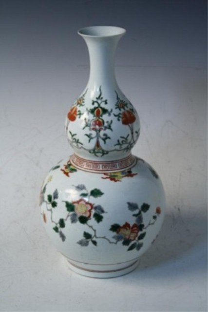 14: Chinese Famille Verte Double Gourd Vase Qing Dyn