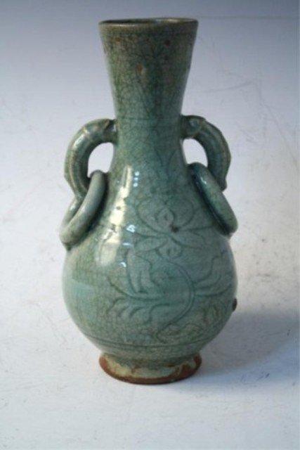 22: Chinese Celedon Glazed Bottle Vase Ming Dynasty