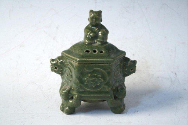 23: Chinese Celadon Glaze Tripod Censer