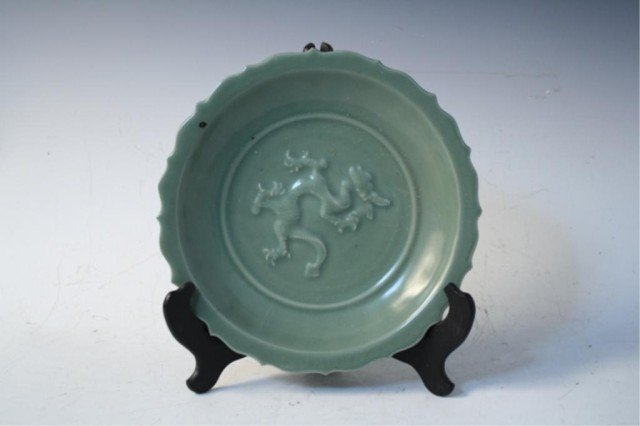 24: Chinese Celadon Glazed Plate w/ Dragon