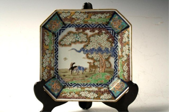 29: Chinese Polychrome Square Plate Qing Dynasty