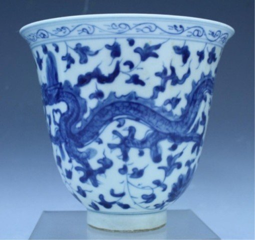 31: Chinese Blue & White Porcelain Dragon Vessel - 2