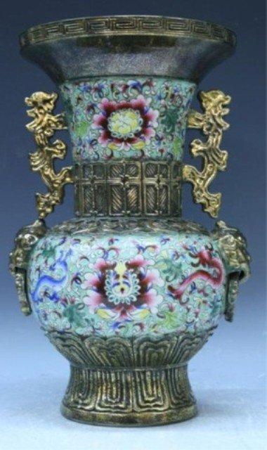 32: Chinese Famille Rose & Gilt Vase 20th Century