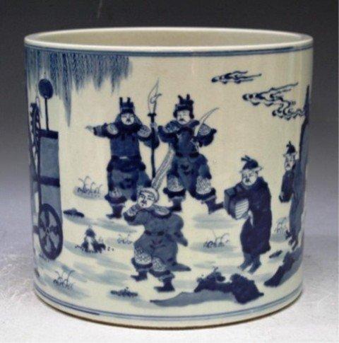 34: Chinese Blue & White Porcelain Brushpot