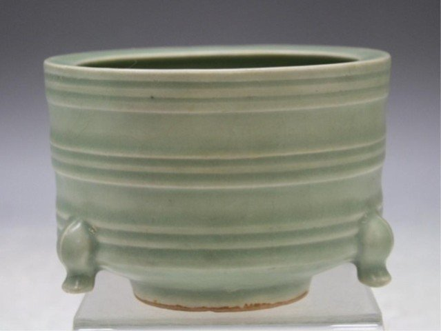 37: Chinese Celadon Censer w/ Crackle Glaze