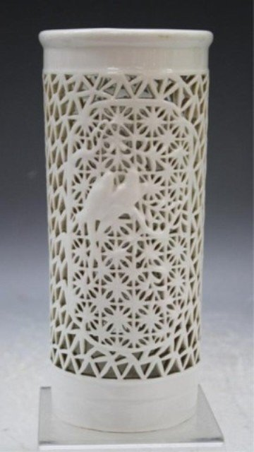 38: Chinese White Porcelain Hat Stand w/ Birds 18th C.