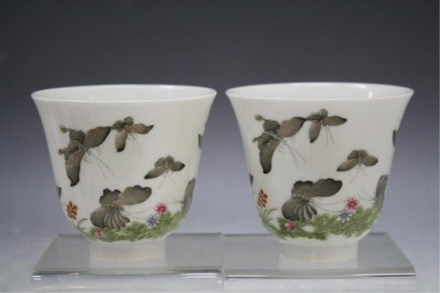 39: Chinese Pair of Porcelain Cups w/ Butterflies