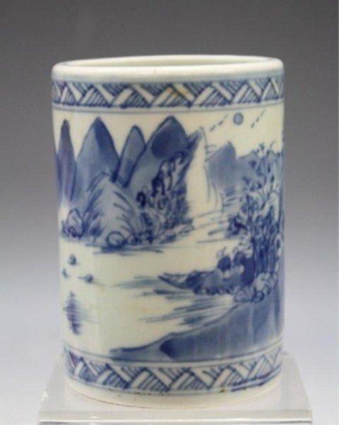 40: Chinese Blue & White Porcelain Brushpot