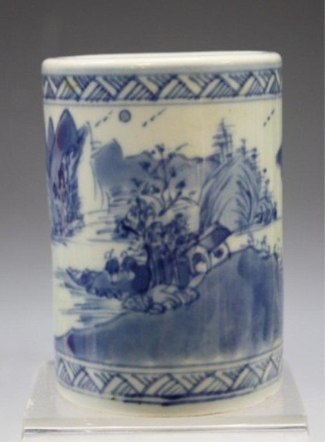 40: Chinese Blue & White Porcelain Brushpot - 2