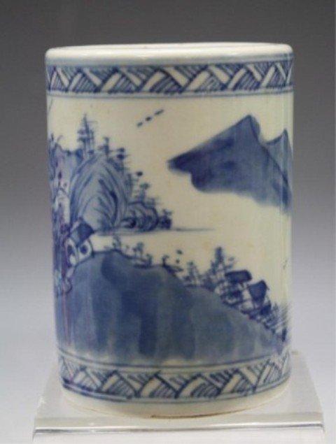 40: Chinese Blue & White Porcelain Brushpot - 3