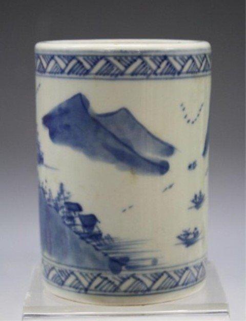 40: Chinese Blue & White Porcelain Brushpot - 4