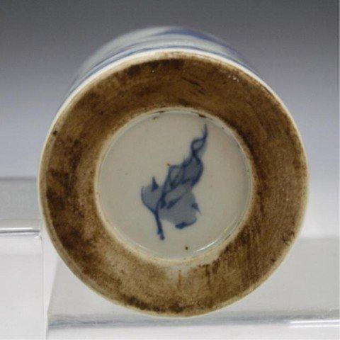 40: Chinese Blue & White Porcelain Brushpot - 8