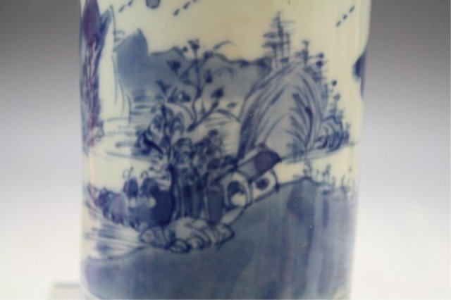 40: Chinese Blue & White Porcelain Brushpot - 9