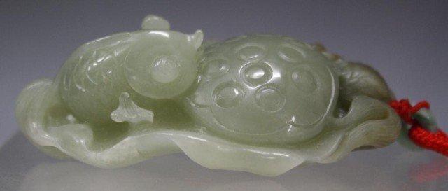 100: Chinese Hetian Jade Carving of Fish