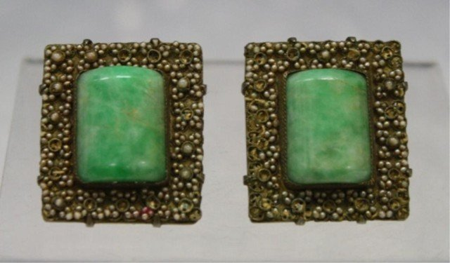 102: Pair of Chinese Clip-On Earrings w/ Jade Insets
