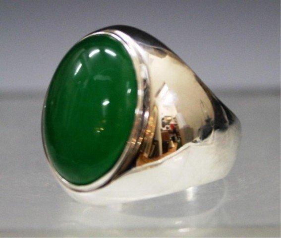104: Chinese 14K White Gold Ring w/ Green Stone