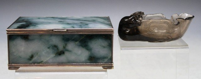 108: Carved Jade & Silver Box & Quartz Brushwasher