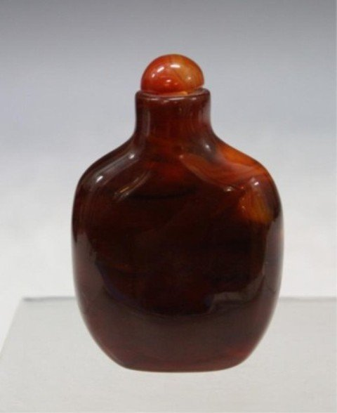 111: Chinese Carved Agate Snuff Bottle