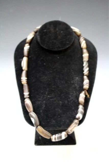 113: Chinese Agate Eye Beaded Necklace