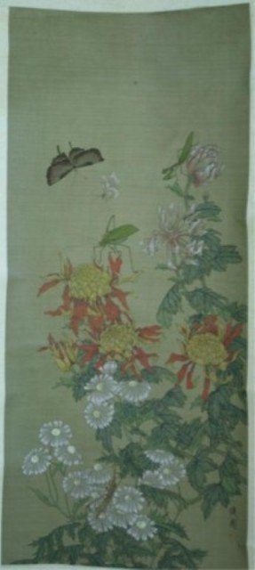 128: Chinese Scroll Painting of Insects & Flowers