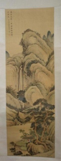 135: Chinese Scroll Painting of Landscape on Silk