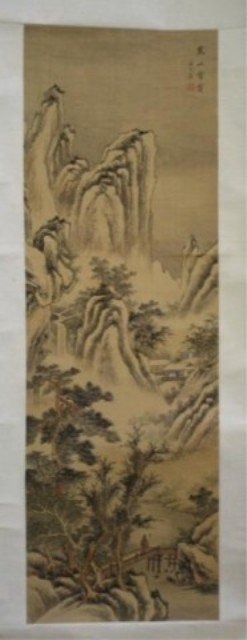 136: Chinese Landscape Scroll Painting on Silk