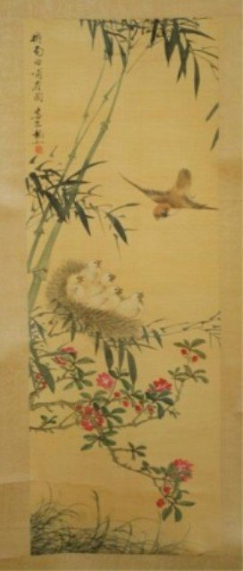 137: Chinese Scroll Painting of Birds & Flowers on Silk