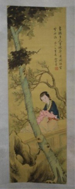 138: Chinese Scroll Painting of Beauty on Silk