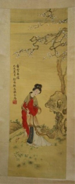 141: Chinese Scroll Painting of Beauty on Silk