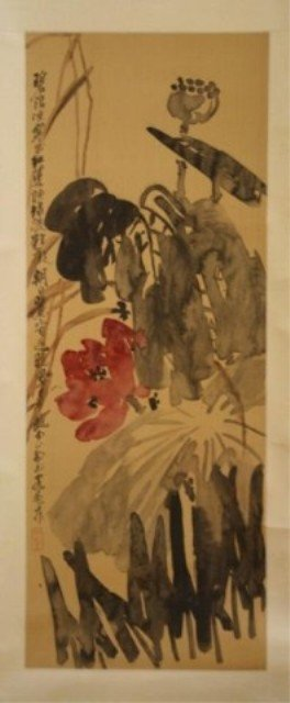 144: Chinese Scroll Painting of Flowers on Silk