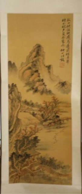 145: Chinese Scroll Painting of Landcsape on Silk