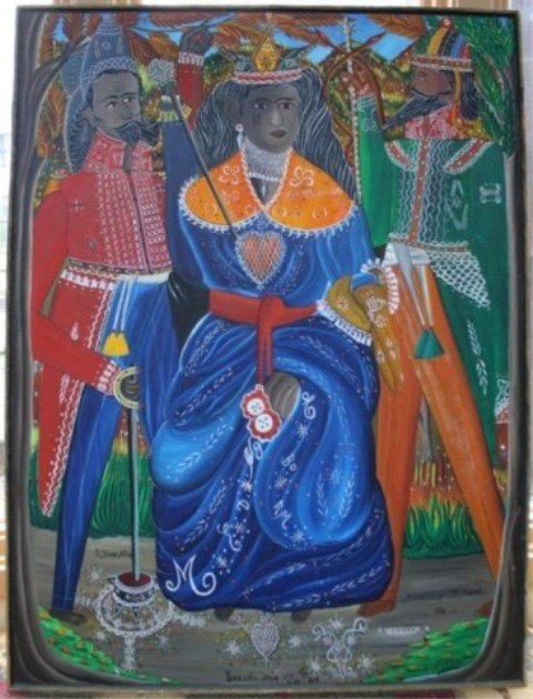 152: Haitian A. Pierre Painting of 3 Figures