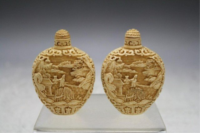 220: Pair of Chinese Carved Bone Snuff Bottles