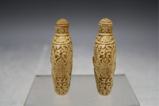 220: Pair of Chinese Carved Bone Snuff Bottles - 2