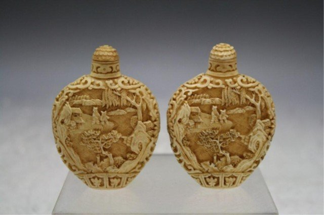 220: Pair of Chinese Carved Bone Snuff Bottles - 3