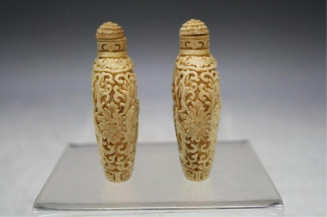 220: Pair of Chinese Carved Bone Snuff Bottles - 4