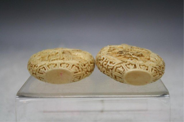 220: Pair of Chinese Carved Bone Snuff Bottles - 5