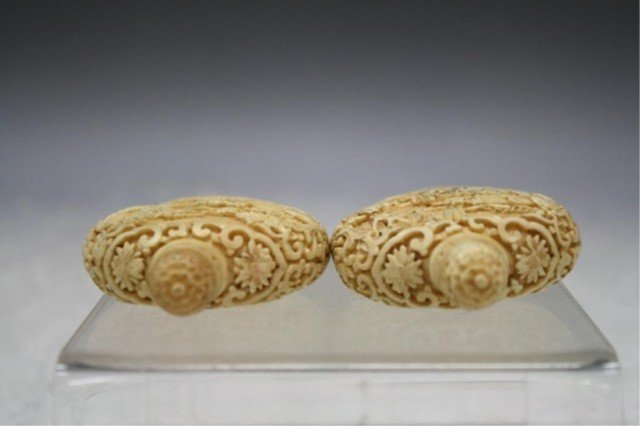 220: Pair of Chinese Carved Bone Snuff Bottles - 6