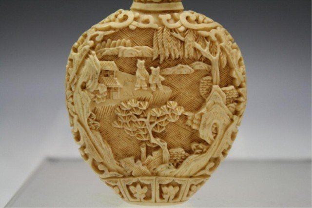 220: Pair of Chinese Carved Bone Snuff Bottles - 7