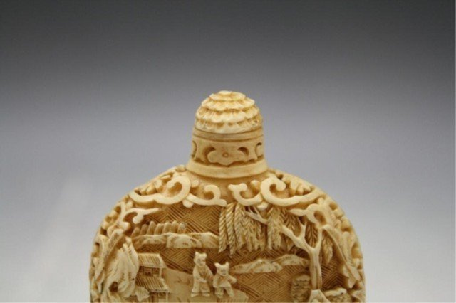 220: Pair of Chinese Carved Bone Snuff Bottles - 9